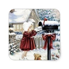Shop Vintage Christmas Delivery Square Sticker created by tyraobryant.