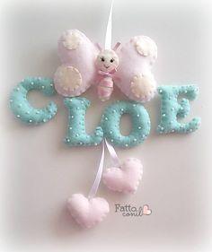 fiocco nascita  personalizzabile farfallina con lettere color tiffany imbottite e cuori pendenti , by fattoconilcuore, 40,00 € su misshobby.com