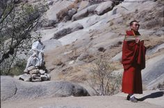 A monk practicing asceticism in Tibet.