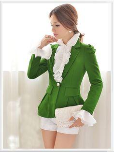 Morpheus Boutique  - Green Pleated Shoulder Long Sleeve Hem Jacket, CA$123.06 (http://www.morpheusboutique.com/green-pleated-shoulder-long-sleeve-hem-jacket/)