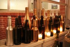 Speakeasy Party: painted beer and wine bottles in clusters with candles