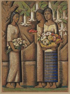 "Alfredo RAMOS MARTÍNEZ, ""Women with Flowers"", n.d. Tempera and conte crayon on newspaper"