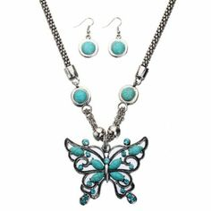 Amazon.com: Yazilind Retro Butterfly Turquoise Necklace and Earring Set with Crystal Tibetan Silver Chain: Yazilind: Jewelry
