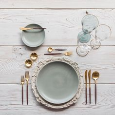 Our Verona Chargers in Antique White + Heath Ceramics in Mist + Goa Flatware in Brushed 24k Gold/Wood + Chloe 24k Gold Rimmed Stemware + Chloe 24k Gold Rimmed Goblet in Agave + 14k Gold Salt Cellars + Tiny Gold Spoons #cdpdesignpresentation #