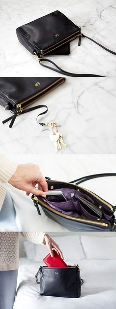 """""""The Pearl"""" - leather crossbody bag. Converts to a clutch, fits everyday and travel essentials, dedicated pocket for mini tablets, and is crafted from soft buttery nappa leather."""