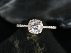 Barra Ultra Petite 14kt Gold White Topaz Cushion Halo Engagement Ring