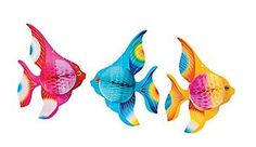 Decorative Tropical Fish - Tissue (6) :   Hang these tropical swimmers from the ceiling at your next beach or luau themed party for an awesome ocean look.  Assorted colours, 6 per set. 25.4cm