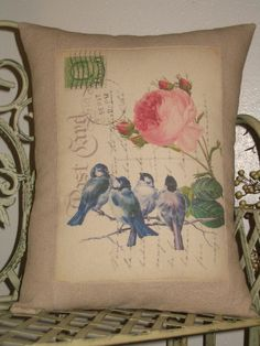 French Carte Postale Bird Pillow With French Script On Etsy, $23.00 | Home  Goods | Pinterest | Pillows, French Script And Room Ideas