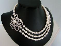 Pearl Bridal Necklace, Brooch Wedding Necklace, Flower, Brooch, Rhinestone, Pearl, Crystal, Vintage  -  The Confectionery. $118.00, via Etsy.