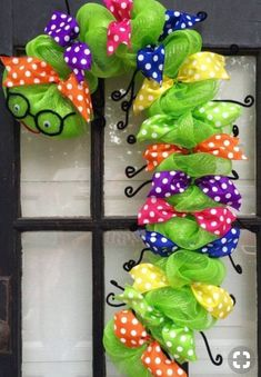 Dekoration appreciation Bookworm caterpillar Classroom Library School Teacher WreathBookworm wreath back to school wreath teacher appreciation wreath classroom wreath library wreath caterpillar wreath School Wreaths, Teacher Wreaths, Wreath Crafts, Diy Wreath, Diy Crafts, Wreath Ideas, Mesh Wreath Tutorial, Deco Mesh Wreaths, Yarn Wreaths
