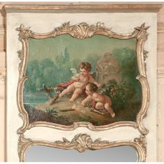 Antique Mirrors and Decor | Antique Trumeaux | 19th Century French Trumeau With Cherubs | www.inessa.com