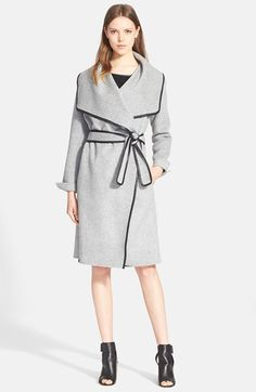 Vince Vince Leather Trim Drape Front Coat available at #Nordstrom