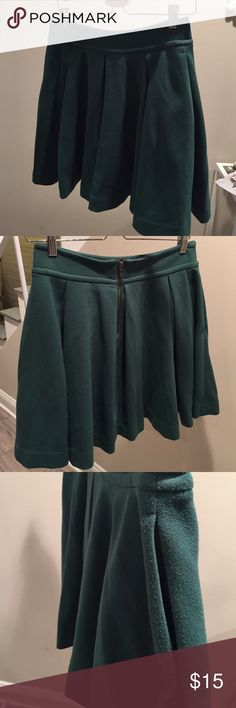Maeve Pleated Knit Skirt Green Pleated Maeve Skirt from Anthropologie. Pilling throughout the skirt. The eye of the hook eye closure at the top of the zipper fell off, but the zipper still stays up, no problem. Pockets! Anthropologie Skirts Mini