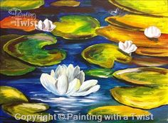 Water Lilies II- Open to the Public - Tempe, AZ Painting Class - Painting with a Twist