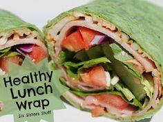 A Healthy Alternative to Lunch! Easy Healthy Lunch Wrap by Sixsistersstuff.com #recipe #wrap