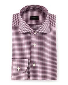 """Box-Check Twill Sport Shirt, Burgundy (Red), Size: 16"""" - Ermenegildo Zegna"""