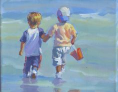 original acrylic painting two boys walking to beach by LucelleRaad