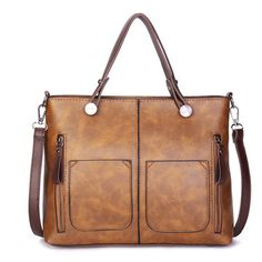 Hot-sale designer Women Retro Solid Tote Bags Dating Soft Leather Large Capacity Crossbody Bags Online - NewChic Mobile Source by bag fashion chic Sierra Leone, Ghana, Leather Crossbody, Leather Handbags, Crossbody Bags, Women's Handbags, Satchel Handbags, Leather Bag, Gris Violet