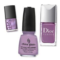 Lavender polish from Nars, ChinaGlaze and Dior. My new favorite nail color.