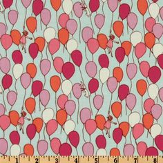 Designed by Sarah Jane for Michael Miller Fabrics, this cotton print features an allover design of lilac, pink, orange and white balloons on an aqua background.  Use for quilting and craft projects.