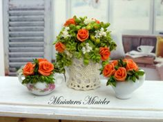 Miniature Dollhouse 3pc Set - Orange Roses