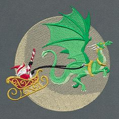 Put a fantastical spin on Christmas with this design! Wizard Santa flies in front of the moon, sleigh pulled by a fierce dragon.