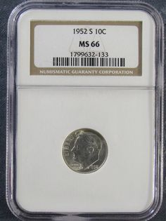 1952-S  **#NGC MS66** #Roosevelt Silver Dime : Uncirculated Dime