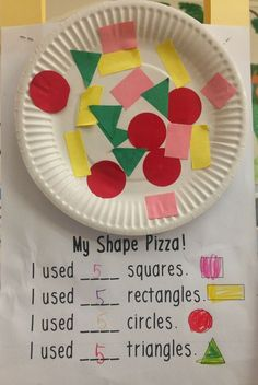 Make a shape pizza to practice shapes! Math for kindergarten Make a shape pizza to practice shapes! Math for kindergarten Preschool Learning, Kindergarten Classroom, Kindergarten Activities, Classroom Activities, Preschool Activities, Shapes For Kindergarten, Preschool Shape Crafts, 2d Shapes Activities, Math Crafts