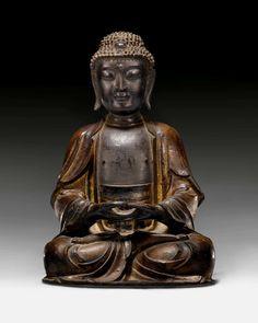 MEDITIERENDER BUDDHA AMITHABA. China, späte Ming-Dynastie, H