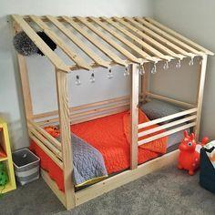 Toddler House Bed Frame railings mattress slats Made in US Toddler Floor Bed, Toddler House Bed, Diy Toddler Bed, Toddler Rooms, Kid Floor Bed, Toddler Beds For Boys, Wooden Toddler Bed, Floor Beds, House Frame Bed