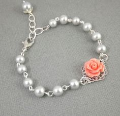 Gray Pearl and Coral Flower Silver Filigree by cymbaline84 on Etsy