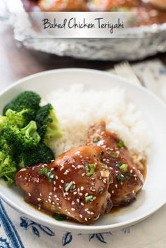 A homemade teriyaki sauce and simple baking method creates incredibly moist and tender Baked Chicken Teriyaki. ~ http://www.fromvalerieskitchen.com