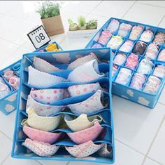 Good idea to organize bras and underwear! mine always get so lost in my drawers.- could use for fabric, ribbons, trims, etc