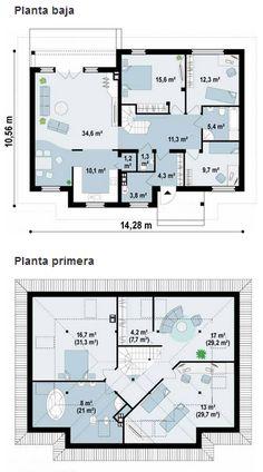 Plano de hermosa casa de 1 piso moderna de 3 dormitorios for Planos de chalets