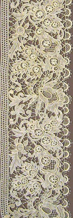 Lace Border 1884 detail. Chemical Lace is a form of machine-made lace. This method of lace-making is done by embroidering a pattern on a sacrificial fabric that has been chemically treated so as to disintegrate after the pattern has been created.