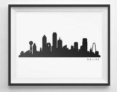 Dallas Skyline Silhouette    Printable Skyline  by NimbleTurtleArt