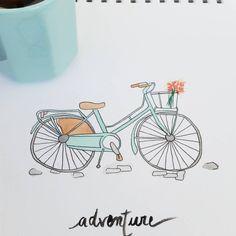 1ier petit déjeuner dehors ▫B O N H E U R ▫ et 1ier vélo à l'aquarelle  Bon dimanche #sunday #cocooning #velo #bicyclette #aquarelle #watercolor #draw #drawing #illustration #dessin #illustratrice #art