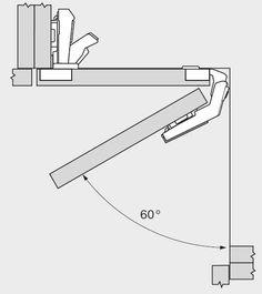 Balama Clip 79T8500 usi corp de colt deschidere 60 grade dimensiuni si cote Blum Wood Joints, Metal Buildings, Kitchen Cupboards, Modern Kitchen Design, Architecture Details, Cabinet, Drawers, Floor Plans, Woodworking