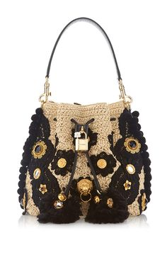 Inspired me to think about using my tye-died crochet piece on a bucket bag. Sew cool stuff with Threadhead TV. ~Claudia In Beige & Black Bucket Bag by DOLCE & GABBANA for Preorder on Moda Operandi Dolce And Gabbana Handbags, Dolce E Gabbana, Crochet Handbags, Crochet Purses, Crochet Bags, Bucket Bag, Crochet Shoulder Bags, Black Bucket, Crochet Baby Boots