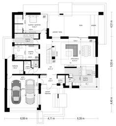 Projekt domu Hiacynt on Behance Beautiful House Plans, Dream House Plans, Modern Bungalow House, Modern House Design, Small Apartment Plans, Architectural Floor Plans, Model House Plan, Dream House Exterior, Boat Design
