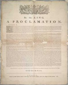 The Royal Proclamation of 1763 was issued October 7, 1763, by King George III following Great Britain's acquisition of French territory in North America after the end of the French and Indian War/Seven Years' War, which forbade all settlement past a line drawn along the Appalachian Mountains.