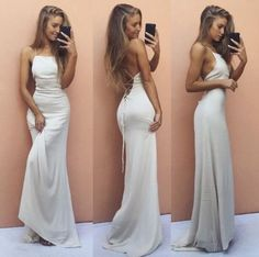 149 USD.White Mermaid Prom Dress,Backless Prom Dress,Fashion Prom Dress,Sexy Party Dress,Mermaid Evening Dress,Women Formal Gowns