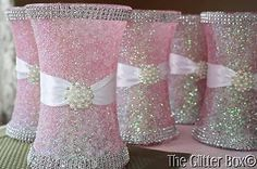Glittered-Wedding-Centerpiece-8-Vase-Iced-Pink-Special-Occassion-Decor