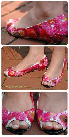 Mod-podge printed paper onto the shoes first, and then cut-out flowers in similar colors...