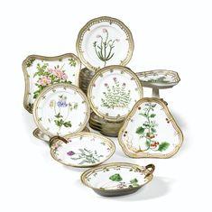 Partie de service Flora Danica en porcelaine de Copenhague, XXe siècle