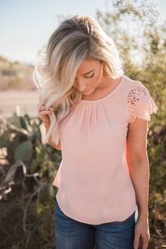 Lace Sleeve Front Pleat Blouse
