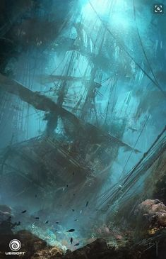 Black Flag - Underwater Wreck, Donglu Yu : concept art done for Assassin's Creed IV: Black Flag. All rights belong to Ubisoft. Under The Water, Under The Sea, Fantasy Places, Fantasy World, Pirate Life, Pirate Art, Environment Design, Fantasy Landscape, Tall Ships