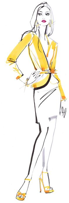 fashion lady in yellow illustration for Swarovski Catalogue by Jacqueline Bissett
