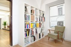 Bookcase, Shelves, Home Decor, Wood Floor, Homes, House, Shelving, Decoration Home, Room Decor