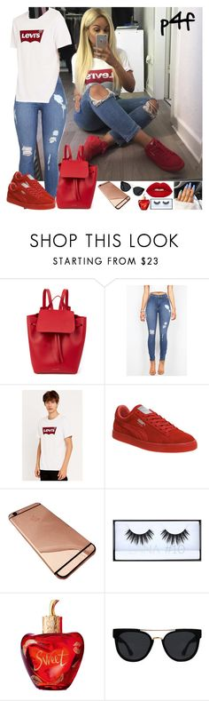 """Passion 4Fashion: dRuNk"" by shygurl1 ❤ liked on Polyvore featuring Mansur Gavriel, Levi's, Puma, Lolita Lempicka and Quay"